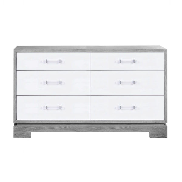 Crawford Grey Cerused Oak 6 Drawer Chest | Fig Linens and Home