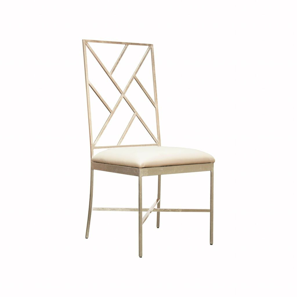 Ashton Silver & White Vinyl Chair by Worlds Away