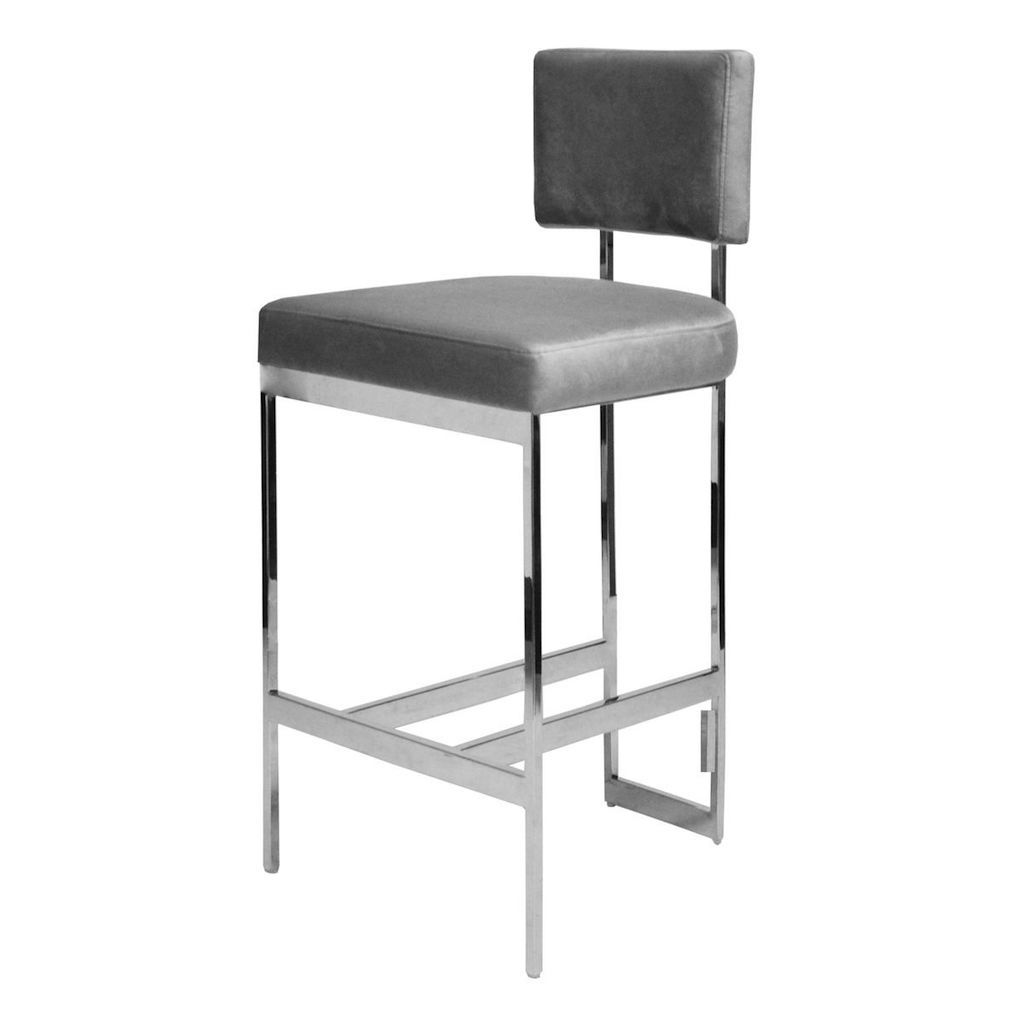 Jones Grey Velvet & Nickel Bar Stool by Worlds Away | Fig Linens