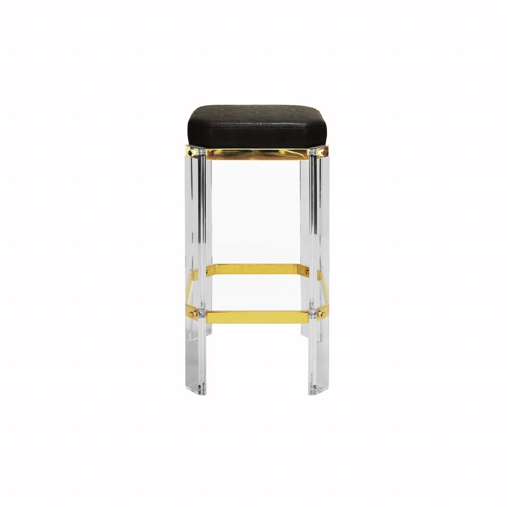 Worlds Away Dorsey Acrylic & Black Shagreen Counter Stool | Fig Linens and Home