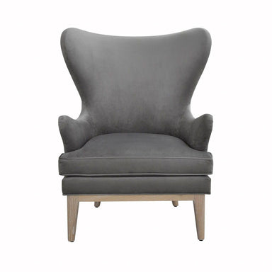 Worlds Away - Frisco Grey Velvet Wing Chair with Cerused Oak Feet | Fig Linens
