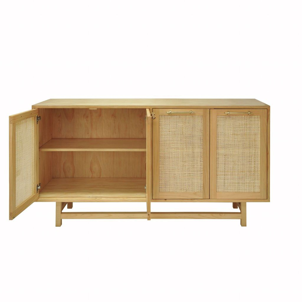 Fig Linens - Worlds Away Macon Pine Cabinet with Cane Door Fronts - Interior