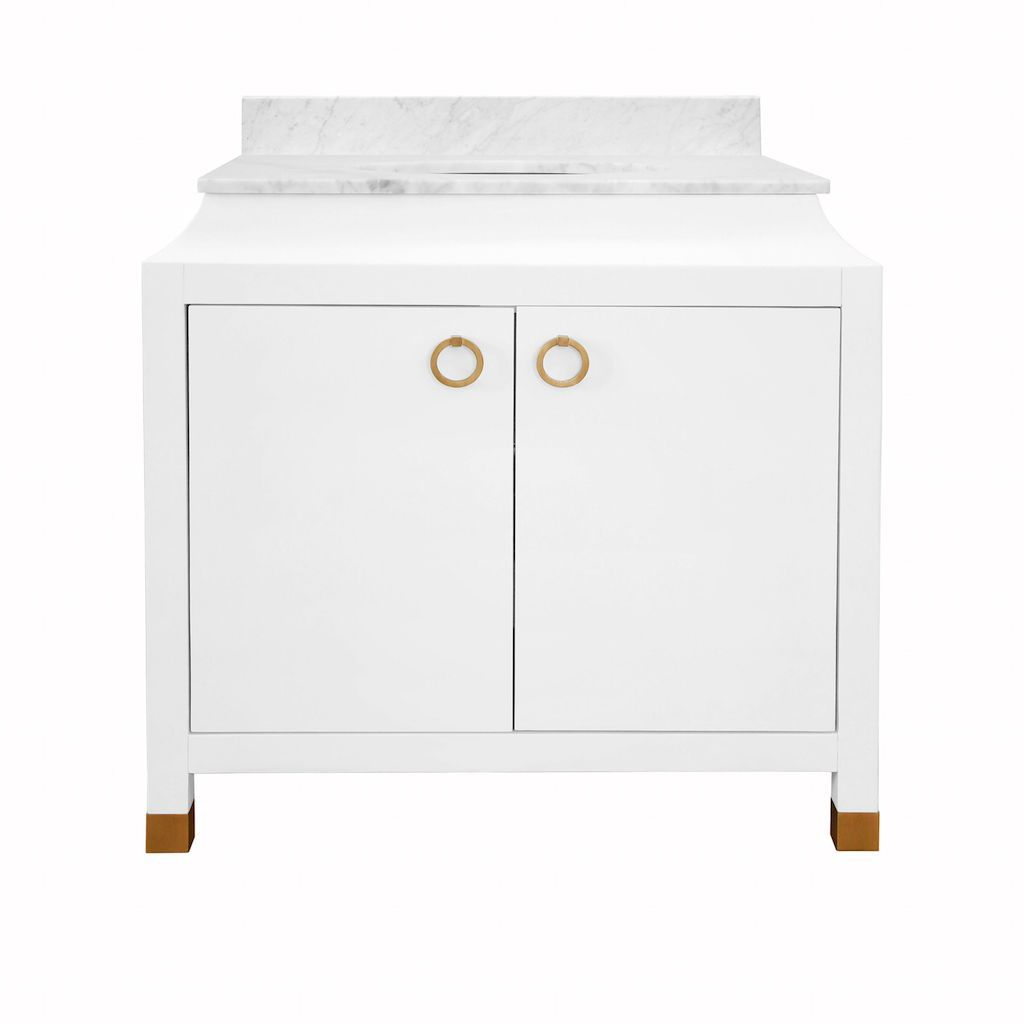 Bree White Bath Vanity with Marble Top by Worlds Away