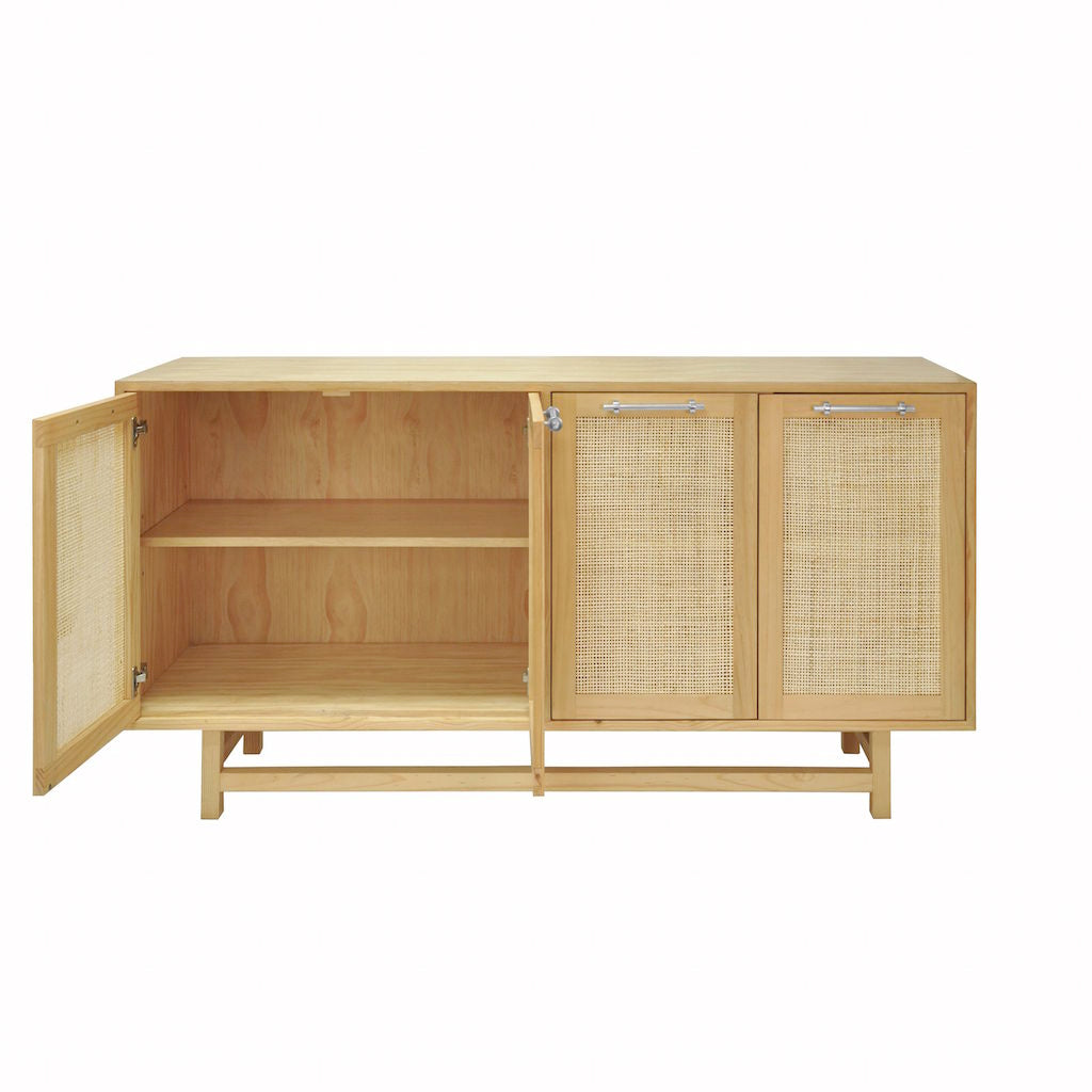 Fig Linens - Worlds Away - Macon Pine Cabinet with Cane Doors & Nickel Hardware - Interior