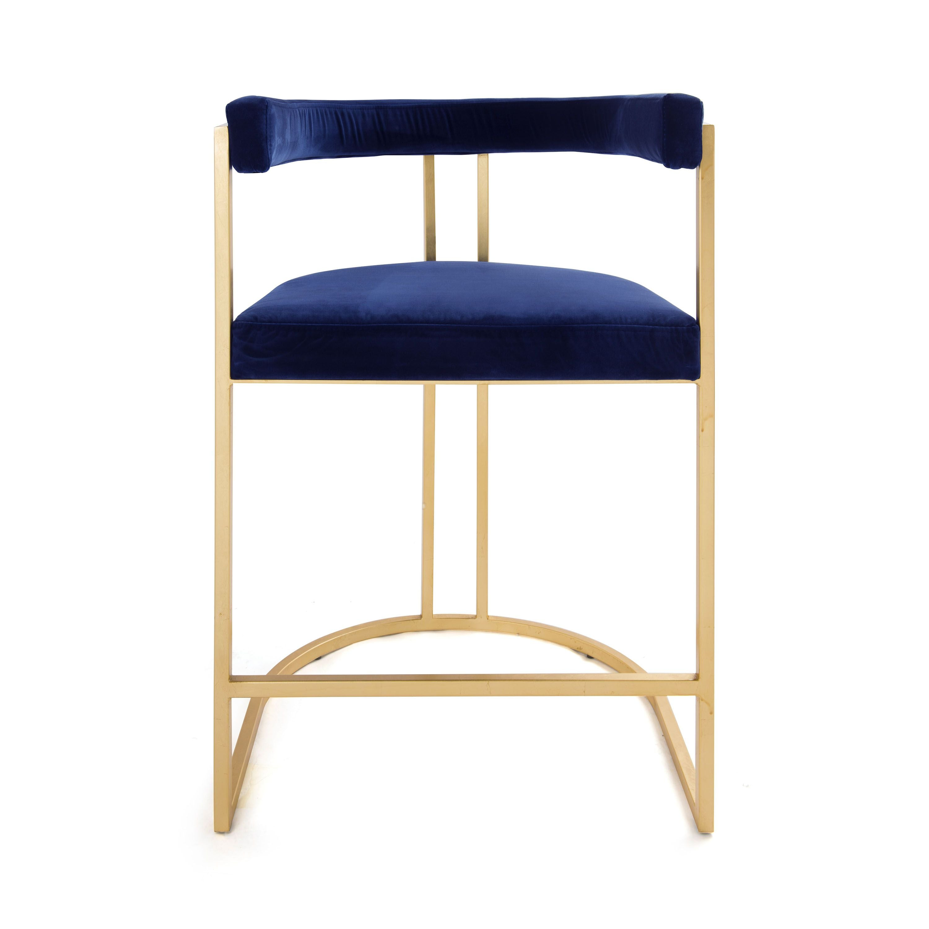 Cromwell Navy Velvet & Gold Counter Stool by Worlds Away | Fig Linens