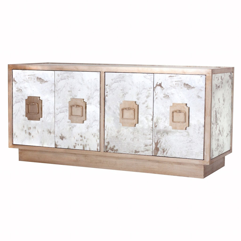 Worlds Away - Ponti Silver Leaf & Antique Mirror Entertainment Center | Fig Linens