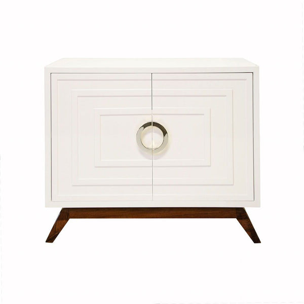 Bernard White 2-Door Cabinet with Nickel Hardware | Fig Linens