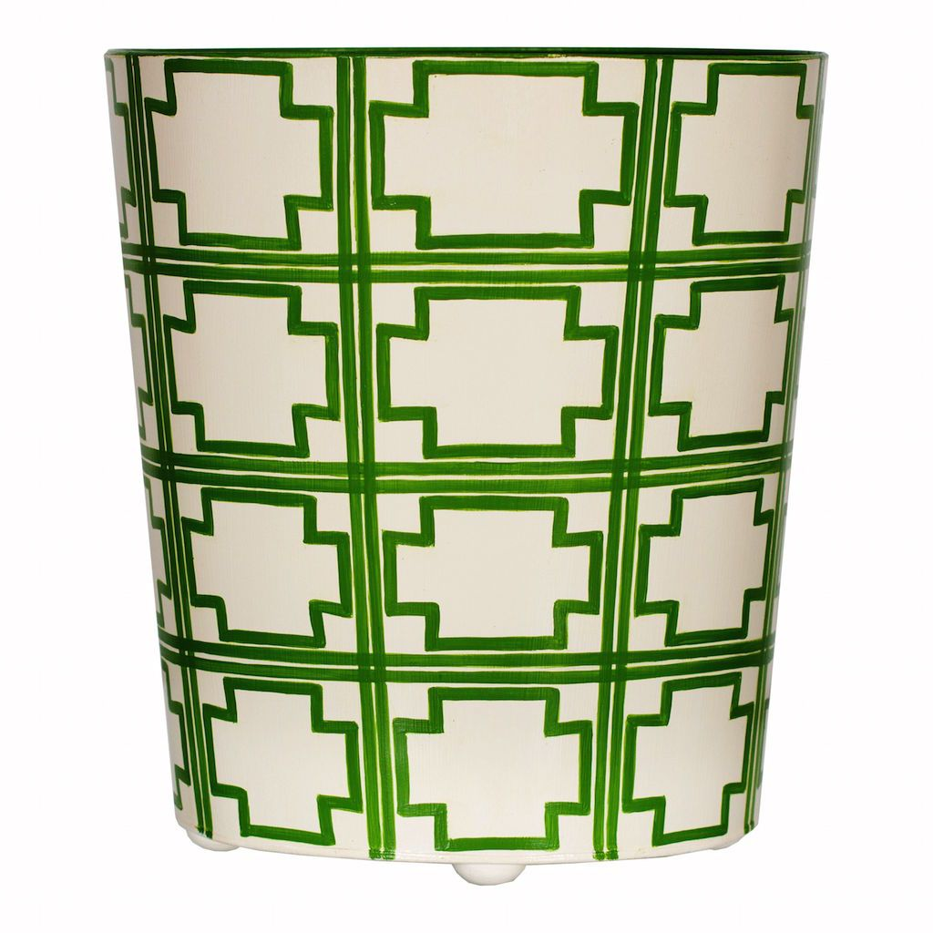 Worlds Away - Oval Wastebasket with Green & Cream Squares | Fig Linens