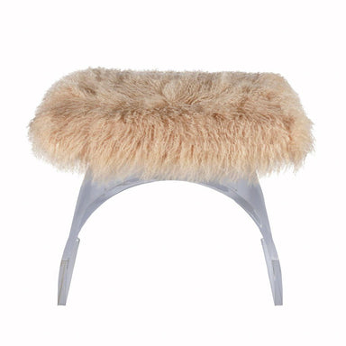 Fig Linens - Marlowe Lucite & Mongolian Fur Stool by Worlds Away - Front