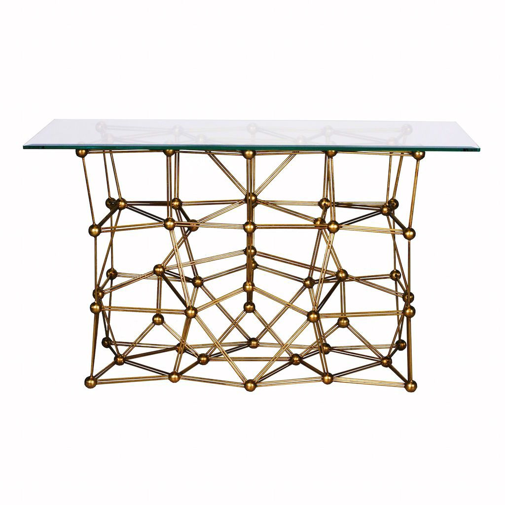 Molecule Gold Console Table with Rectangular Glass Top