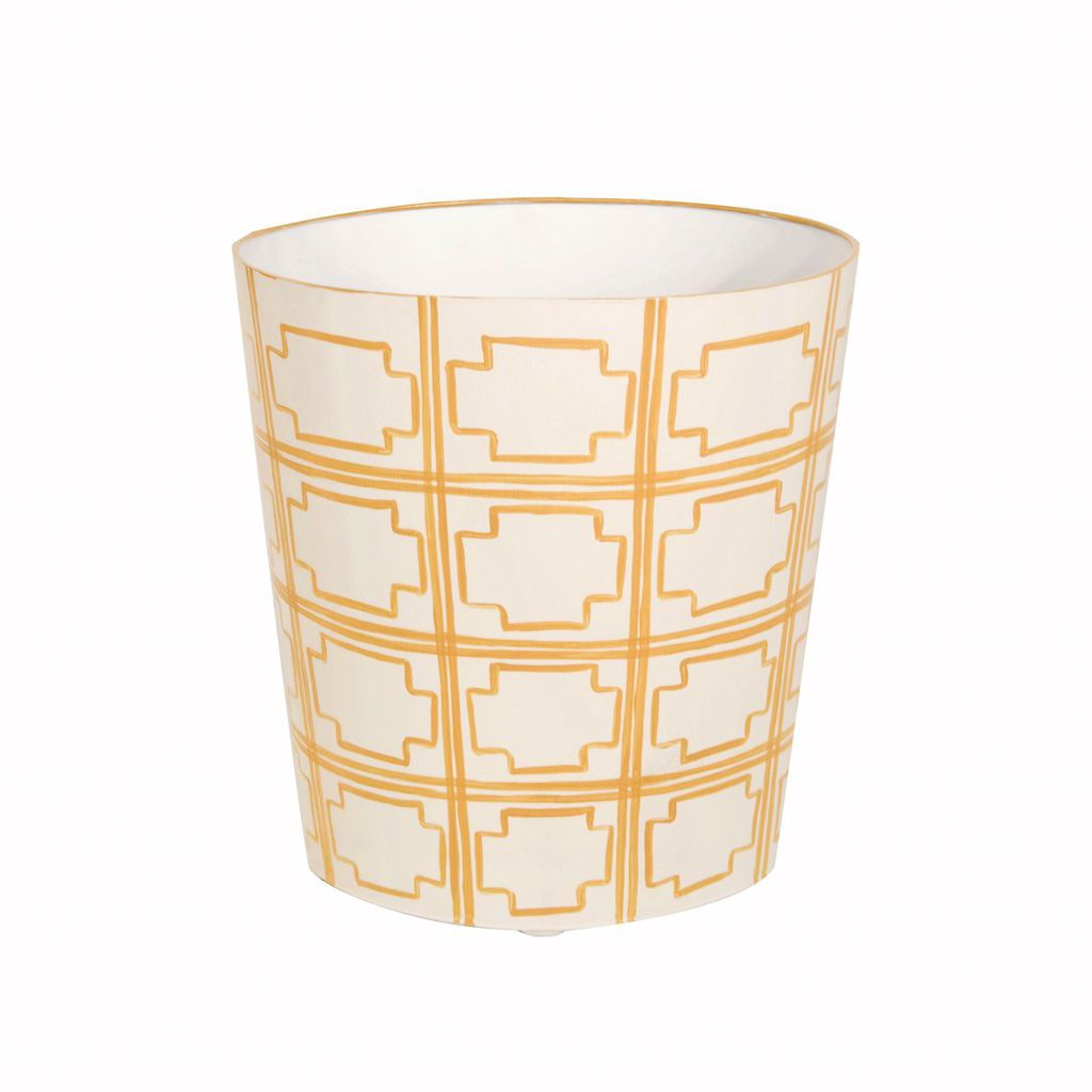 Worlds Away - Cream Oval Wastebasket with Yellow Squares | Fig Linens
