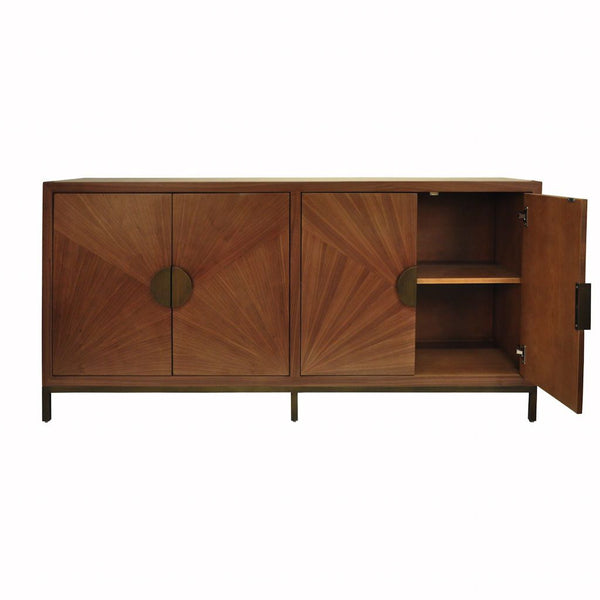 Fig Linens - Worlds Away - Emory Walnut Cabinet with Bronze Legs & Hardware - Interior
