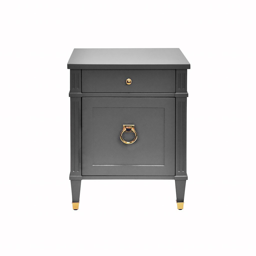 Worlds Away Lily Matte Dark Grey & Brass Side Table | Fig Linens