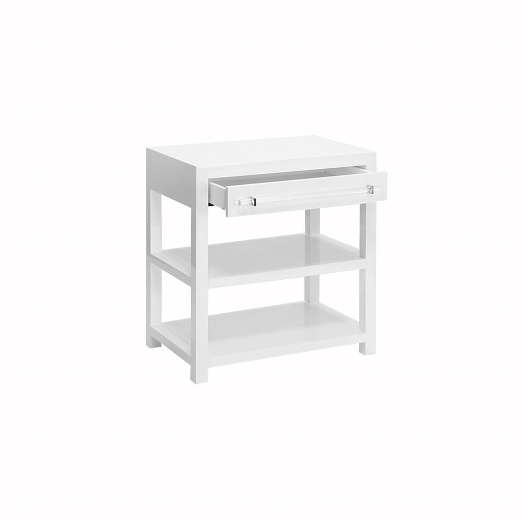 Garbo White Lacquer Night Stand by Worlds Away | Fig Linens