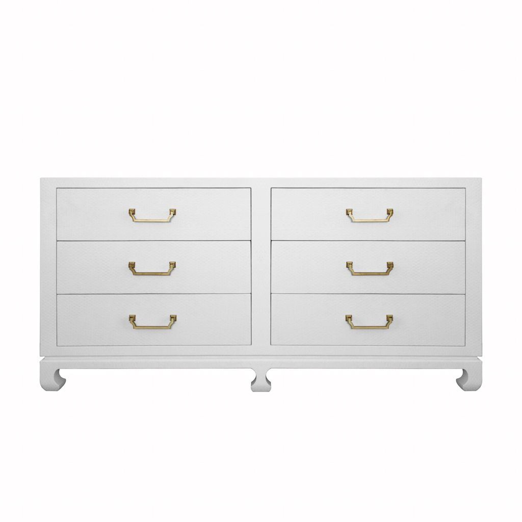 Worlds Away - Murray White Drawer Chest with Brass Hardware | Fig Linens