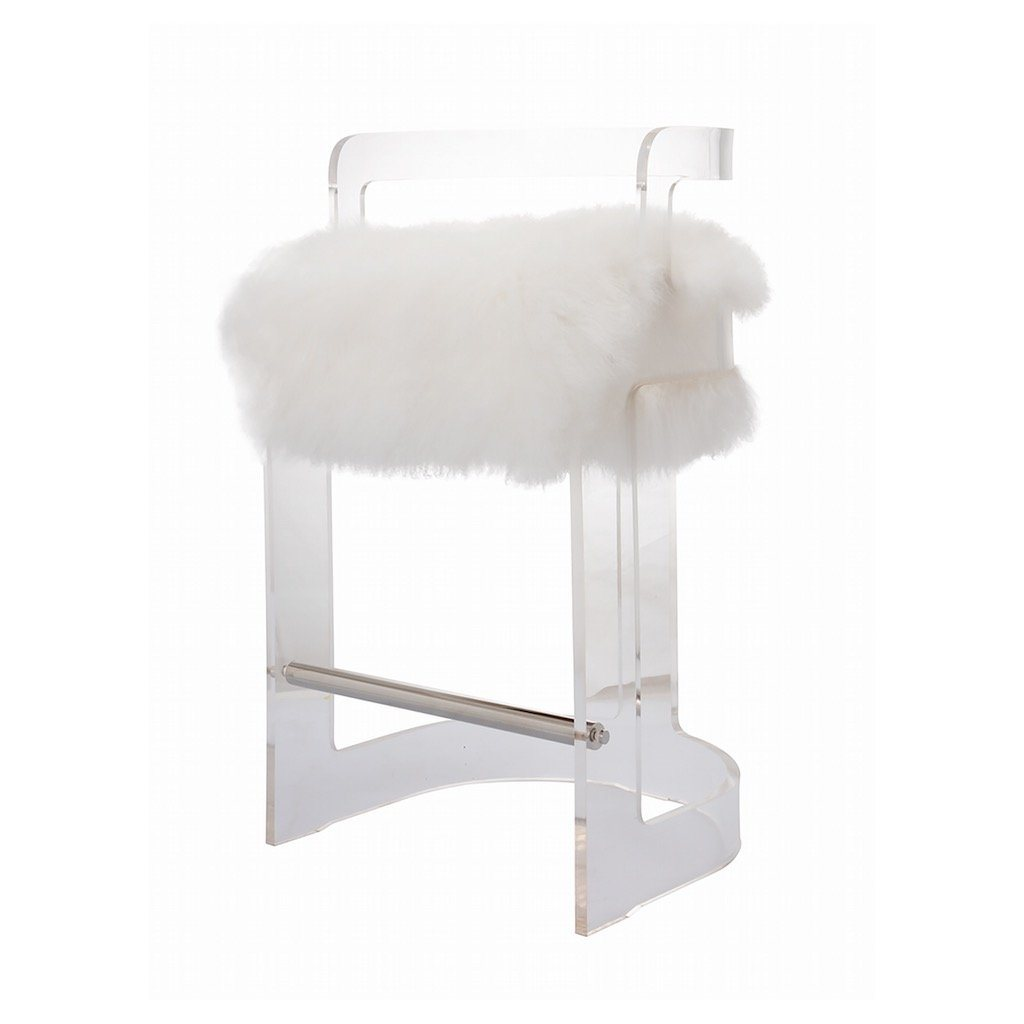 Fig Linens - Malone Acrylic Counter Stool with Mongolian Fur Cushion by Worlds Away