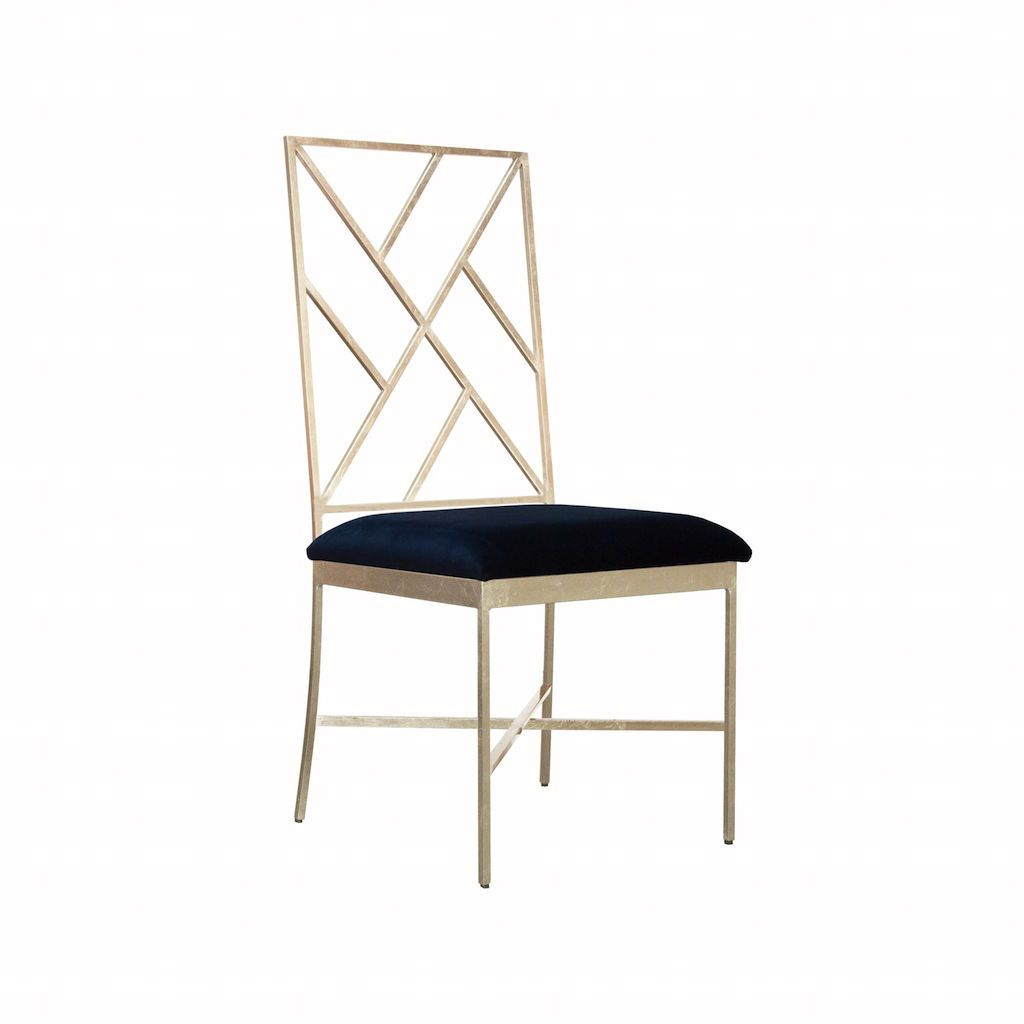 Ashton Silver & Navy Velvet Chair by Worlds Away