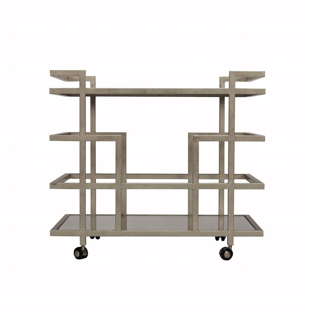Fig Linens - Ireland Silver Bar Cart with Mirrored Shelves by Worlds Away  - Front