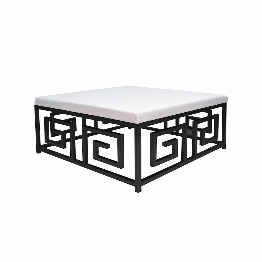 Eileen Black & White Ostrich Ottoman by Worlds Away | Fig Linens