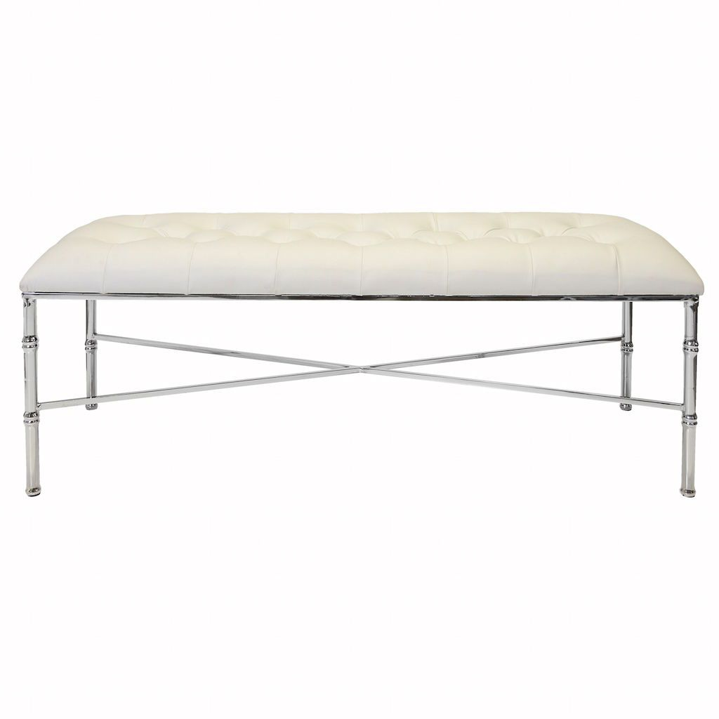 Stella Nickel Bench with Tufted White Vinyl Seat | Fig Linens and Home