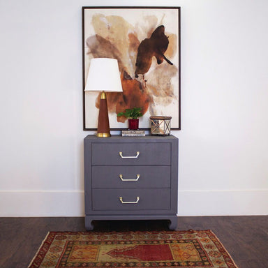 Camille Grey Grasscloth Drawer Chest by Worlds Away - Lifestyle - Fig Linens