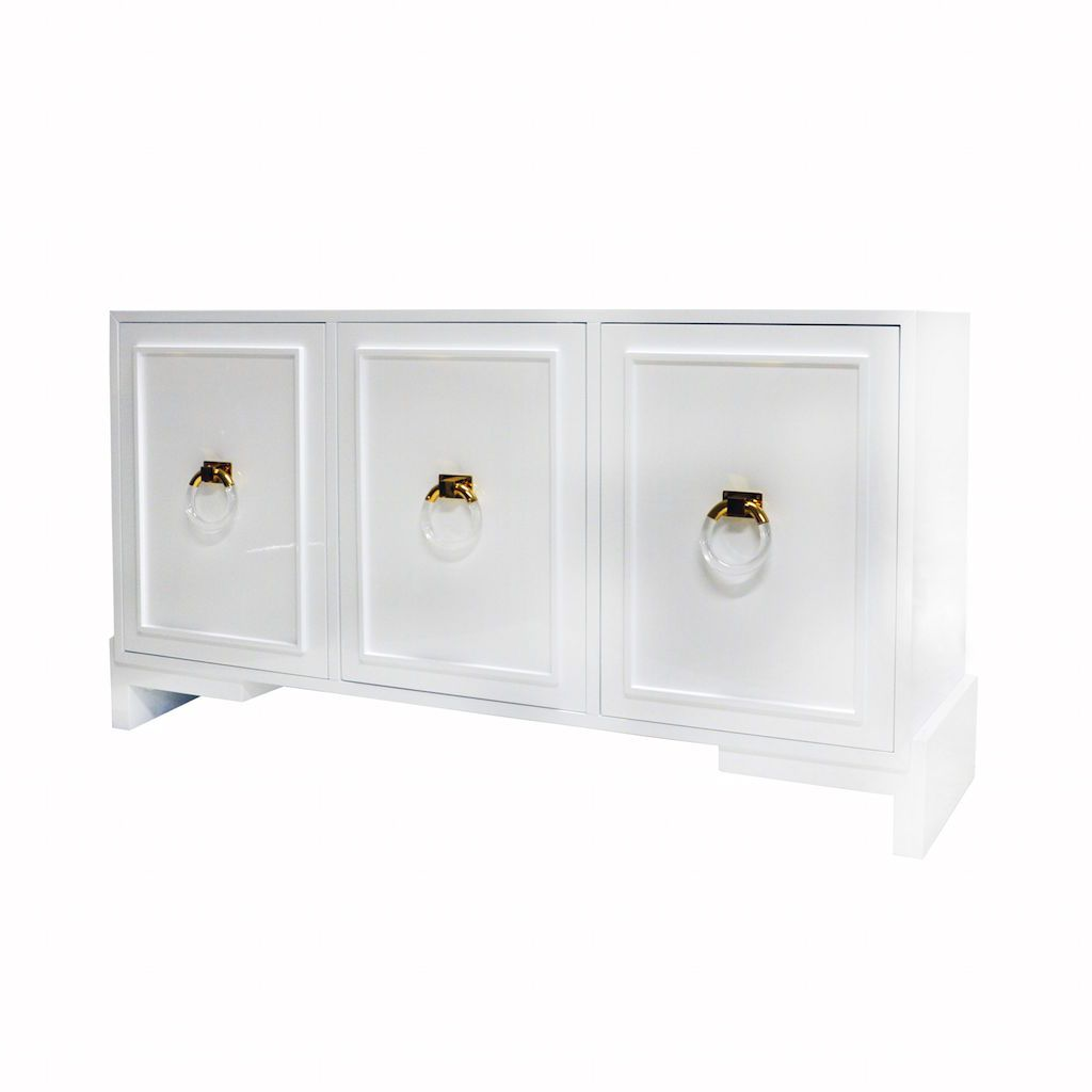 Lyra White 3-Door Cabinet by Worlds Away | Fig Linens and Home