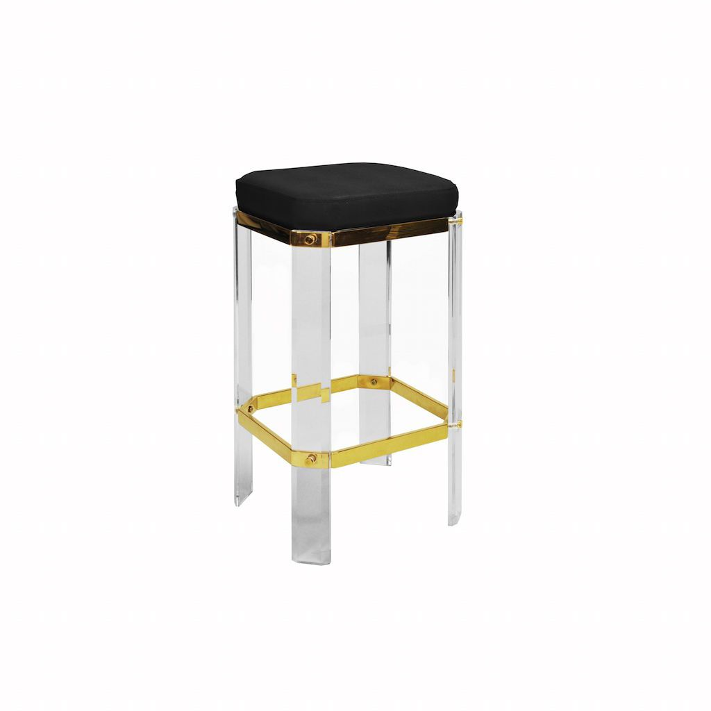 Dorsey Acrylic & Black Shagreen Counter Stool by Worlds Away| Fig Linens and Home