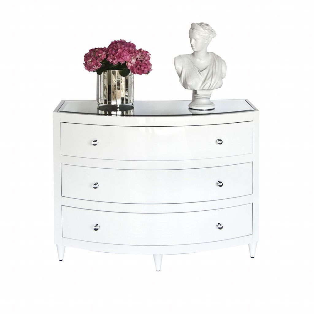 Natalie White Lacquer 3 Drawer Chest by Worlds Away | Fig Linens