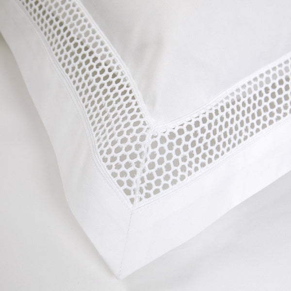 Fig Linens - Yves Delorme Bedding - Oriane White Sham with Openwork Embroidery
