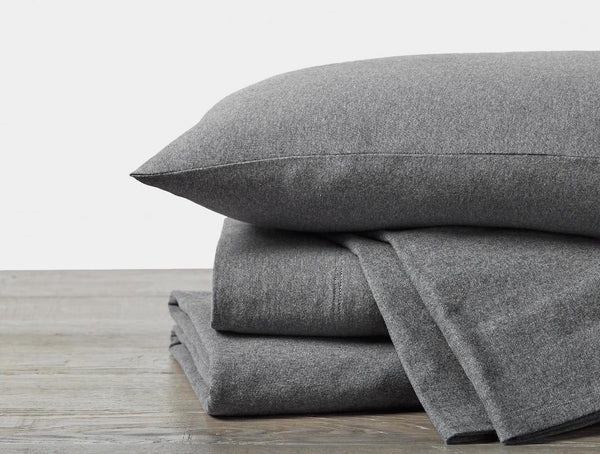 Fig Linens - Charcoal Heather Organic Jersey Sheet Sets by Coyuchi