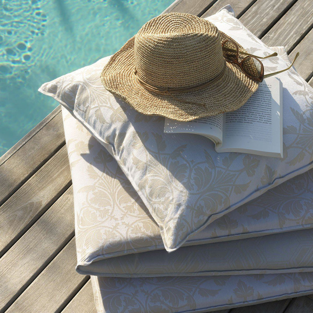 Fig Linens - Le Jacquard Francais Outdoor Collection - Syracuse Beige Pillows and Cushions