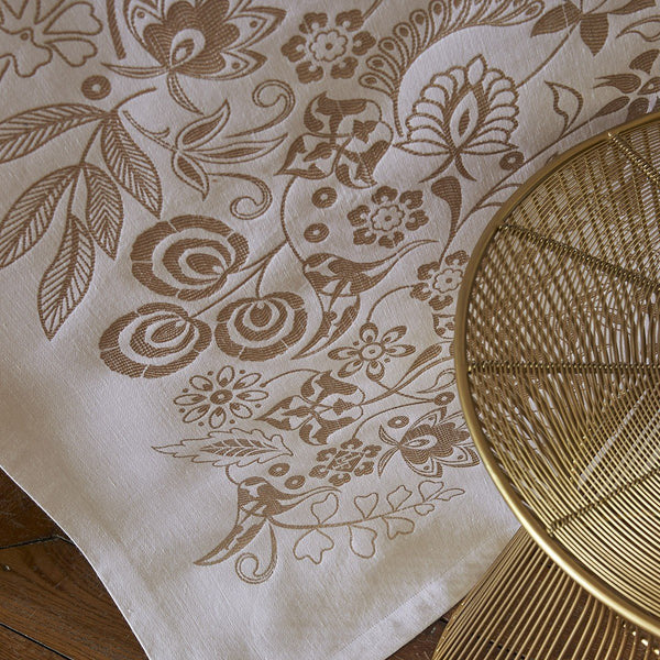 Fig Linens - Le Jacquard Francais - Haute Couture Gold Table Linens with gold designs