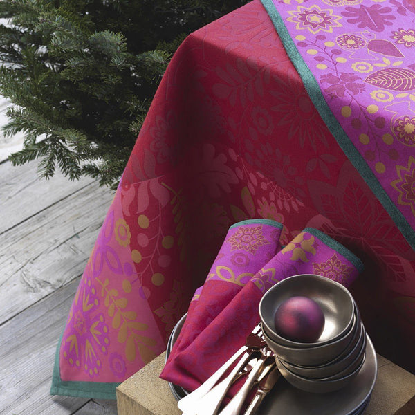 Rovaniemi Cranberry Table Linens - Tablecloths and Napkins