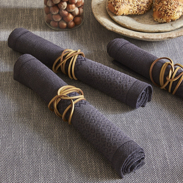 Fig Linens - Le Jacquard Francais Table Linens - Slow Life Carbon Napkins