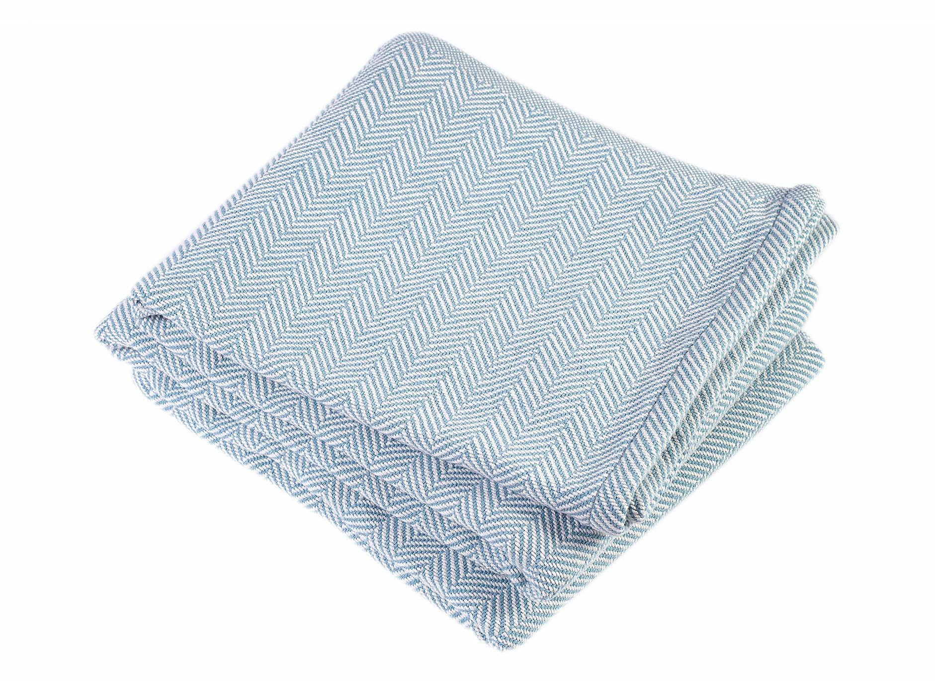 Matka Blue Penobscot Herringbone Cotton Blanket by Brahms Mount | Fig Linens
