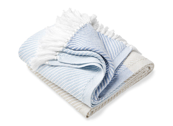Sugarloaf Misty Blue, Oyster & Shore Fringed Throw by Brahms Mount | Fig Linens