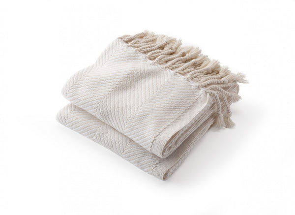 White/Natural Monhegan White Herringbone Throw by Brahms Mount | Fig Linens