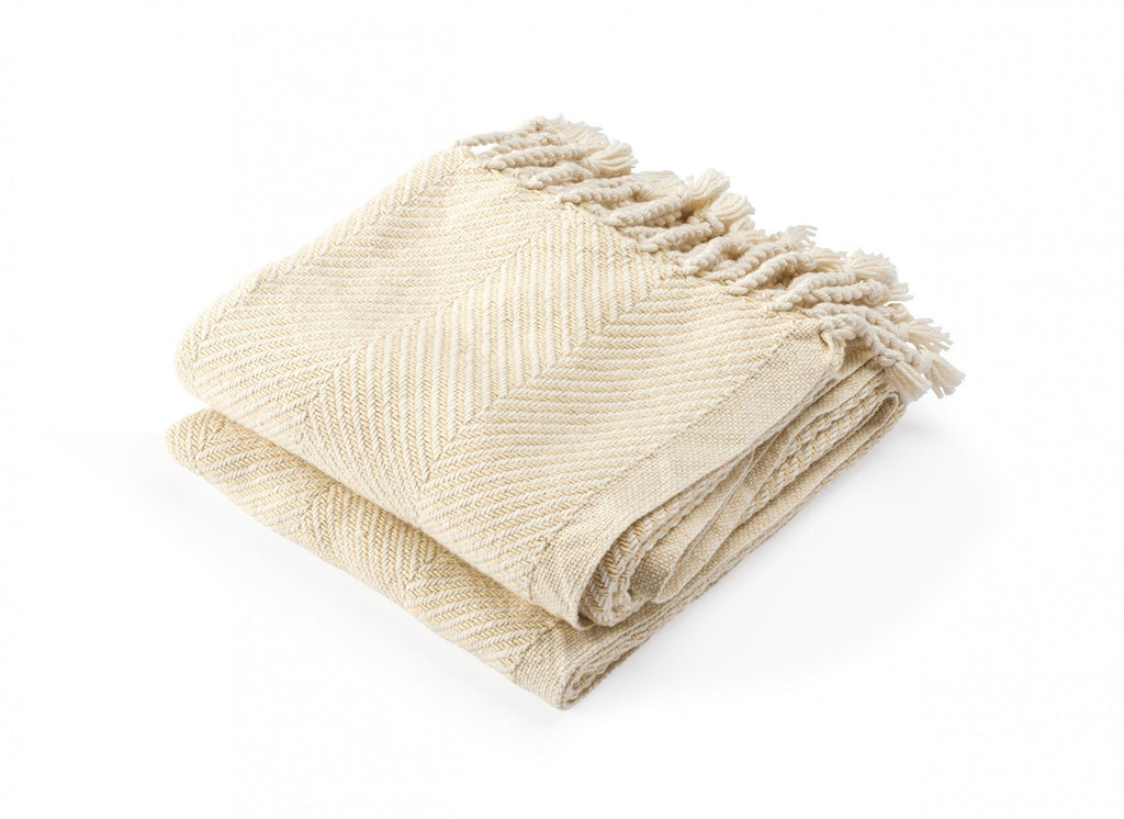Brahms Mount - Monhegan Natural/Almond Herringbone Throw | Fig Linens