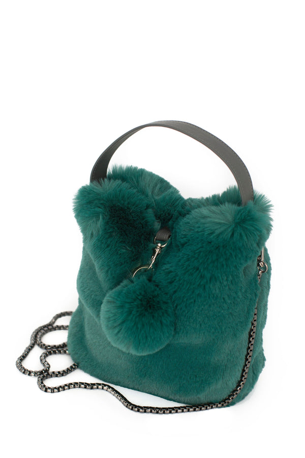 Alpine Green Faux Fur Bag by Evelyne Prélonge | Fig Linens and Home