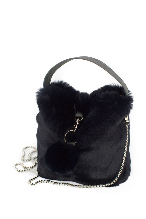 Navy Faux Fur Bag by Evelyne Prélonge | Fig Linens and Home