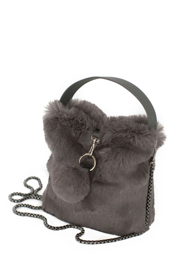 Smoky Gray Faux Fur Bag by Evelyne Prélonge | Fig Linens and Home