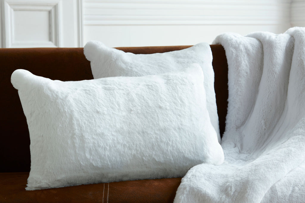 White Faux Fur Pillow by Evelyne Prélonge | Fig Linens and Home