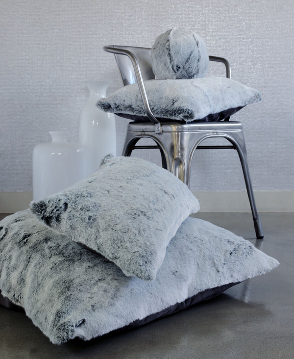 Glacier Gray Faux Fur Pillow by Evelyne Prélonge | Fig Linens and Home