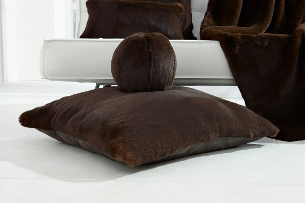 Chocolate Faux Fur Snowball Pillow by Evelyne Prélonge | Fig Linens