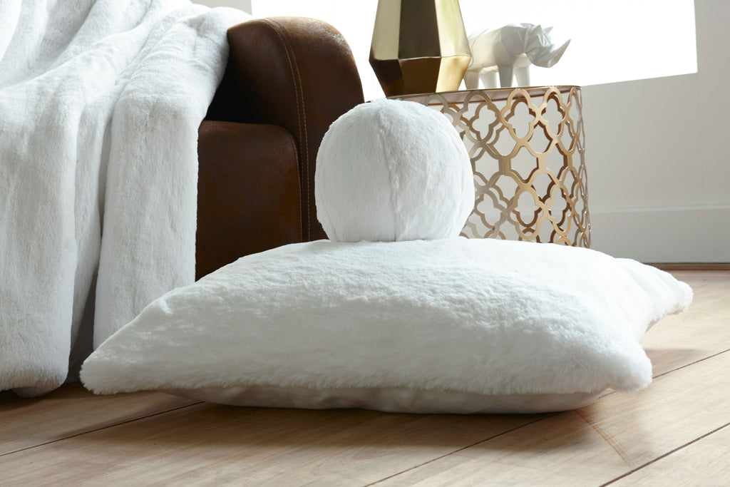 White Faux Fur Pillows by Evelyne Prélonge | Fig Linens and Home