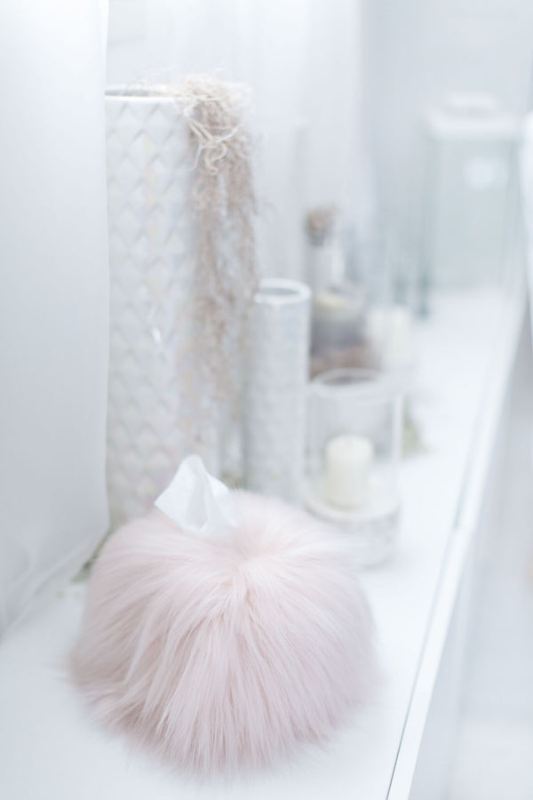 Himalaya Blush Pink Faux Fur Tissue Box Cover | Fig Linens