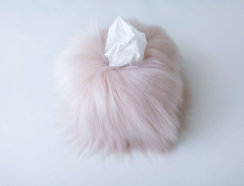 Himalaya Blush Faux Fur Tissue Box Cover | Fig Linens