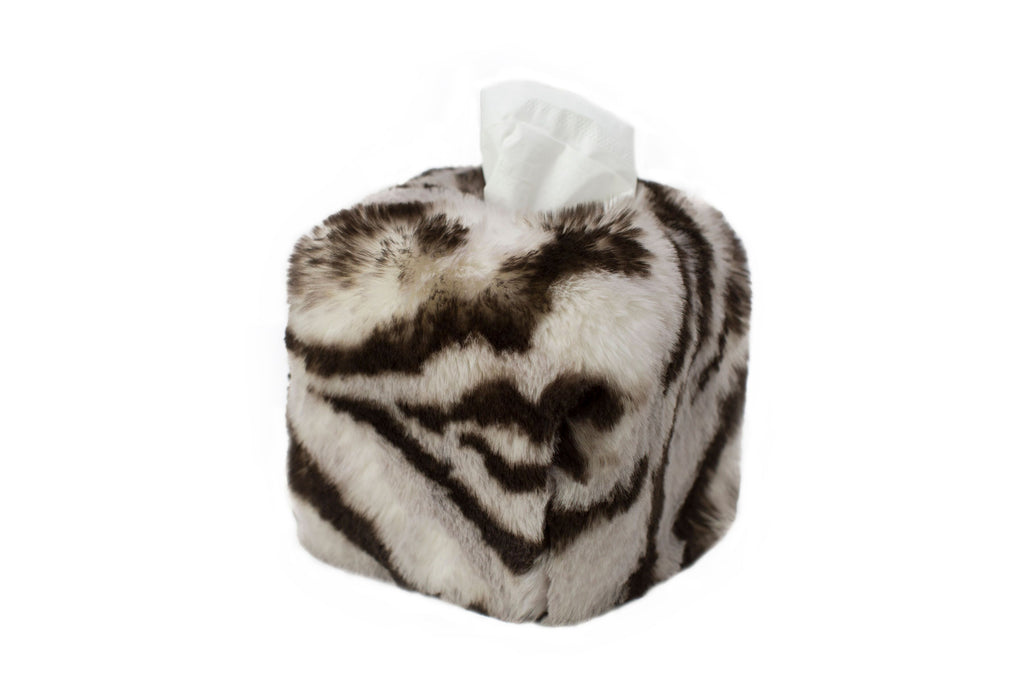 Tiger Faux Fur Tissue Box Cover by Evelyne Prélonge | Fig Linens