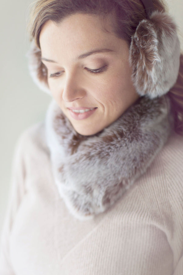 Chestnut Grey Faux Fur Collar by Evelyne Prélonge | Fig Linens