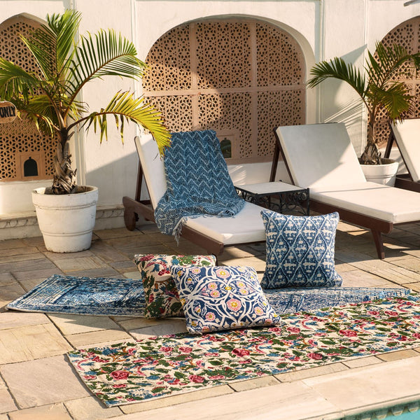 Fig Linens - John Robshaw outdoor pillows and rugs